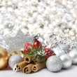 Stock Photo: Silver Christmas background