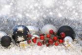 Stříbrné vánoční pozadí — Stock fotografie