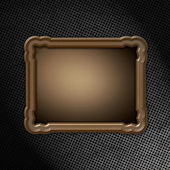 Wooden frame on grunge metal — Stock Photo