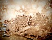 黄金圣诞装饰品 — 图库照片