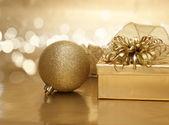Gouden kerstmis achtergrond — Stockfoto