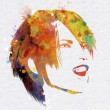 Stock Photo: Grunge watercolour female face