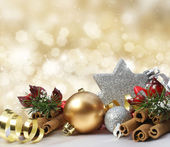 Glittery gold Christmas background — Stock Photo