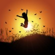 Girl jumping against sunset sky — Stock Vector #40299607