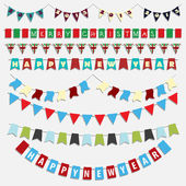 Christmas and New Year bunting — Stock Vector