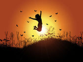Girl jumping against sunset sky — Stock Vector