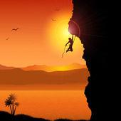 Extreme rock climber — Stock Vector