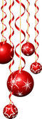 Christmas baubles and streamers — Vector de stock