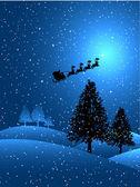 Santa en una noche de nieve — Vector de stock