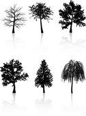 Siluetas de árboles — Vector de stock