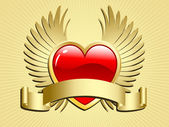 Winged heart with scroll — Stock Vector
