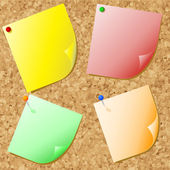 Post-its on cork — Stock Vector