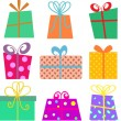 Stock Vector: Cartoon gift boxes