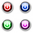 Stock Vector: Glossy power buttons