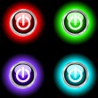 Stock Vector: Glowing power buttons