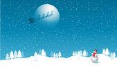 Santa in the sky — Stock Vector