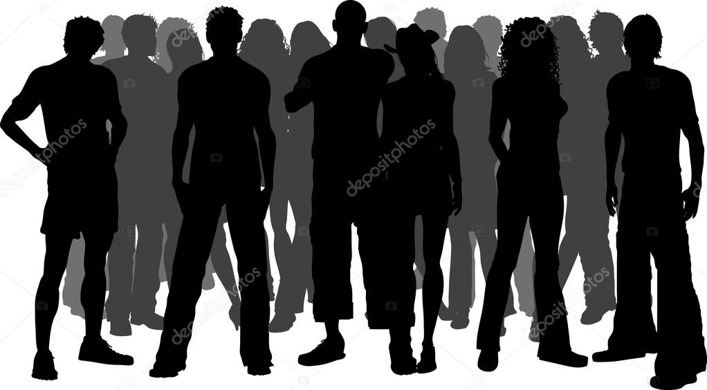 Crowd Silhouette Vector Silhouette of a Huge Crowd of