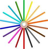 Circle of coloured pencils — Stock Vector