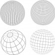 Stock Vector: Wireframe globes