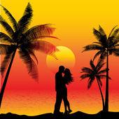 Couple kissing on beach — Stock Vector