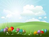 easter eggs in grass — Stock Vector