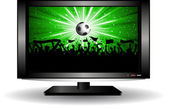 Football crowd on LCD television — Stock Vector