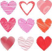 Scribbled hearts — Stock Vector