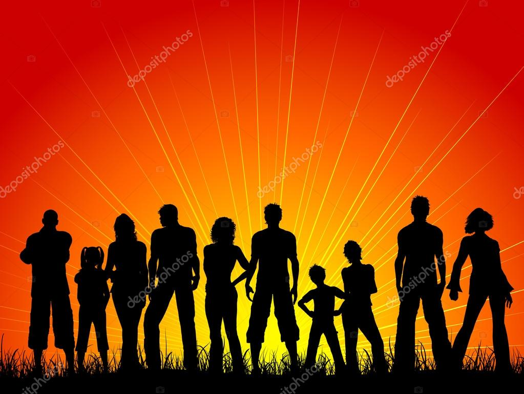 Crowd Silhouette Vector Silhouette of a Large Crowd of