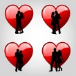 Couples and hearts — Stock Vector