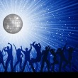 Stock Vector: Party people on disco background