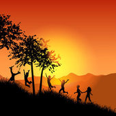 Children running up a grassy hill — Stockvector