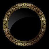 Circular gold frame — Stock Vector