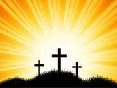 Crosses against sunset sky — Stock Vector