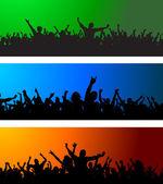 Three Crowd scenes — Stock Vector