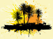Grunge palm trees — Stock Vector