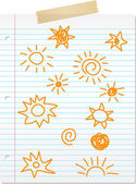 Hand drawn sun doodles on lined paper — Stock Vector