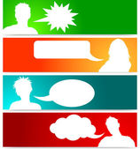 People avatars with speech bubbles — Stock vektor