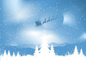 Santa on a snowy night — Stock Vector