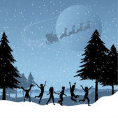 Children playing with santa in the sky — Stock Vector