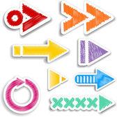 Scribbled arrow designs — Stock Vector