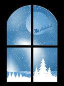 Snowy night through a window — Stock Vector