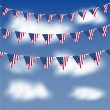 American flag bunting in a blue sky — Stock Vector