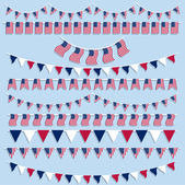 American flags bunting and banners — Stock Vector