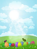 Lanscape with Easter Eggs — Stock Vector