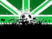 Football crowd with banners and flags on union jack — Vector de stock