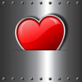 Heart on metal background — Stock Vector