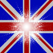 Starry Union Jack Flag background — Stock Vector