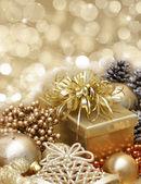 Gold Christmas background — Stock Photo