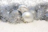 银色圣诞背景 — 图库照片