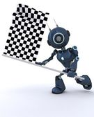 Android waving chequered flag — Stock Photo